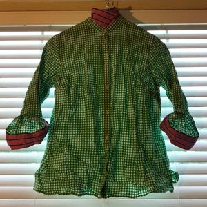 Green and white checkered blouse